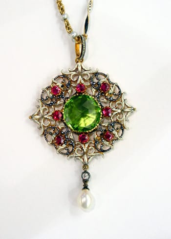 Enameled Gold and Gem Set Pendant by Giuliano, c.1900. Photo Courtesy of Wartski.