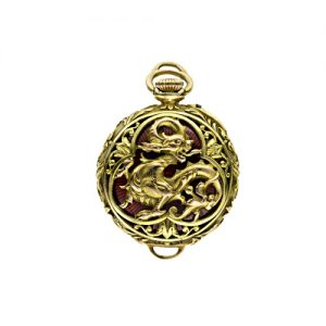 Golay Fils & Stahl Lady's Griffin Motif Pendant Watch with Red Guilloche Enamel.