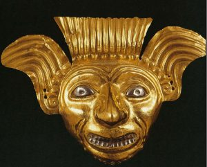 Gold Mask with Platinum Highlights, La Tolita Culture, Ecuador.