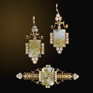 Earrings and Brooch with Gold-in-Quartz Plaques, a Style Popularized by the California Gold Rush.