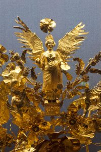 Detail of the Crown - Golden Decorated Crown, Funerary or Marriage Material, 370–360 BC. From a Grave in Armento (Campania)