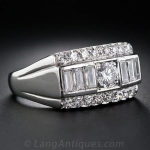 Granat Bros. Mid-Century Diamond and Platinum Ring.