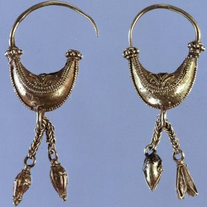 Boat/Leech Form Earrings with Applied Wirework Palmettes, Granulation and Chains with Seed & Seed Pod Terminals. c.450-400 B.C., Greece.