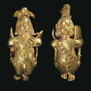 Greek Gold Eros Motif Earrings with Granulation and Sprial Earwire. c.2nd-1st Century B.C., Greece.