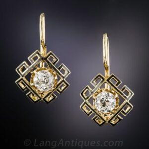 Victorian Diamond and Enamel Greek Key Motif Earrings.