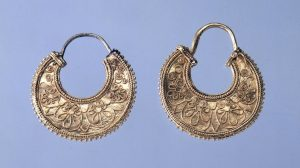 Greek Gold Crescent Earrings Decorated with Applied Wire Palmettes and Granulation. c.450-400 B.C., Greece.