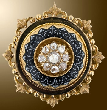Victorian Dome Brooch Topped with Rose Cut Diamonds withing a Wreath of Grisaille Black and White Foliate Enamel.
