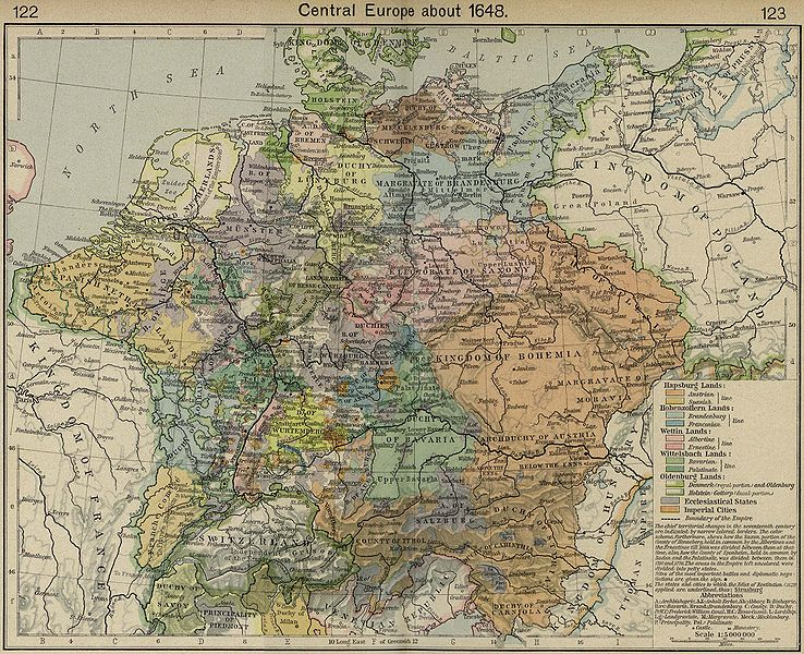 Map of Central Europe and the Holy Roman Empire Around 1648, Towards the End of the Thirty Years War.
