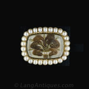 Georgian Hair & Natural Pearl Brooch c.1820's Featuring a Coil of Hair in the Prince of Wales Feather Style.
