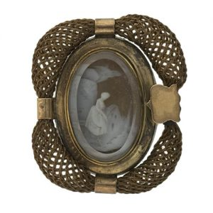 Hairwork Frame on Surrounding a Brooch, c. 1790-1810.