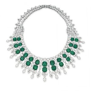 Harry Winston Emerald and Diamond Necklace. Photo Courtesy of Christie's