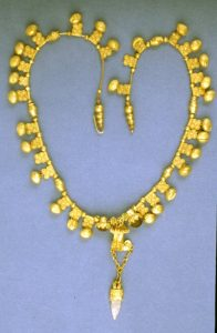 Helenistic Gold Necklace with Square Pendants. c. 500 BC.