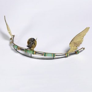 Rock Crystal, Chrysoprase, Enamel, Gold and Silver Tiara byHenry Wilson, c.1908.