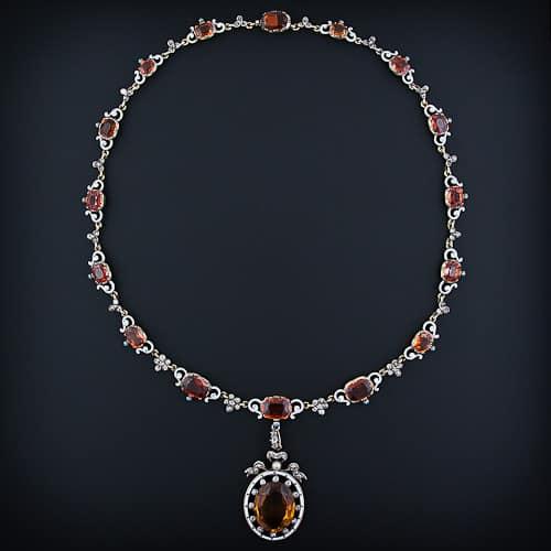 Necklaces aju renaissance revival citrine and hessonite garnet diamond and enamel necklace photo courtesy of lang antiques mozeypictures Choice Image