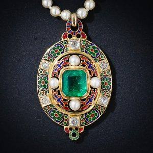 Antique Holbeinesque Emerald and Natural Pearl Necklace.