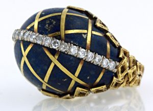A High Domed Lapis Lazuli is Inlaid with a Lattice of 18 Karat Yellow Gold. 1960's