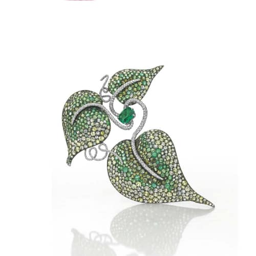 JAR Emerald Leaf Brooch. Photo Courtesy of Christie's.