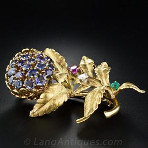 Multi-Hued Sapphire Floral Brooch by J. E. Caldwell & Co., Circa 1950's.