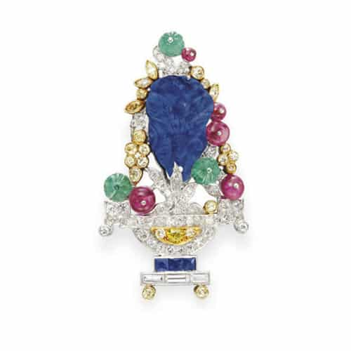JE Caldwell Art Deco Diamond Gemstone Brooch.jpg