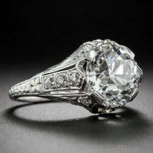 Art Deco Diamond and Platinum Ring by J. E. Caldwell & Co., Circa 1920's.