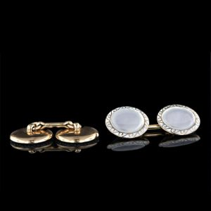 J.E. Caldwell Art Deco Mother-of-Pearl, 14K Yellow Gold Cuff Links.