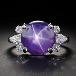 Lavender-Blue Star Sapphire Diamond Ring by J. E. Caldwell & Co.