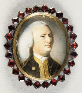 Portrait of Jeremiah Lee, Watercolor on ivory, set in gold with garnets, c. 1769.