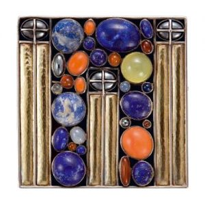 Josef Hoffmann Brooch with Lapis Lazuli, Coral and Other Gemstones, c.1905. Executed by Eugen Pflaumer, c.1911