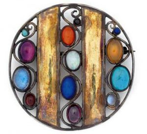Josef Hoffmann Gemstone Circle Brooch.