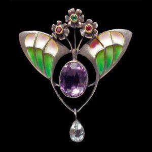 Jugenstil Style Plique-a-Jour, Gemstone, Silver Brooch, c.1900.