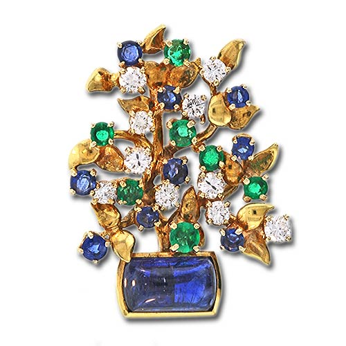 Multi-Gem Floral Brooch, Julius Cohen.