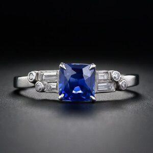 1.12 Carat Kashmir Sapphire and Diamond Ring.