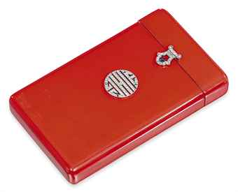 Art Deco Lacquered Cigarette Box with Diamond-Set Findings.