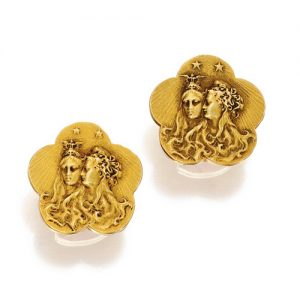 Cufflinks Featuring Two Females in Repoussé. c.1900. Photo Courtesy of Sotheby's.