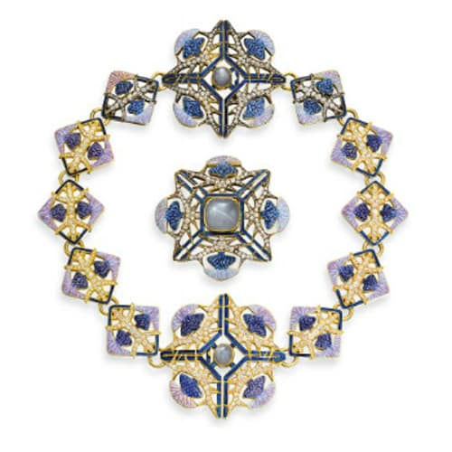 Lalique Art Nouveau Diamond Enamel Thistle Necklace Brooch.jpg