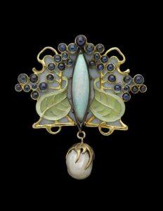 René Lalique Pendant with Plique-á-Jour Enamel.