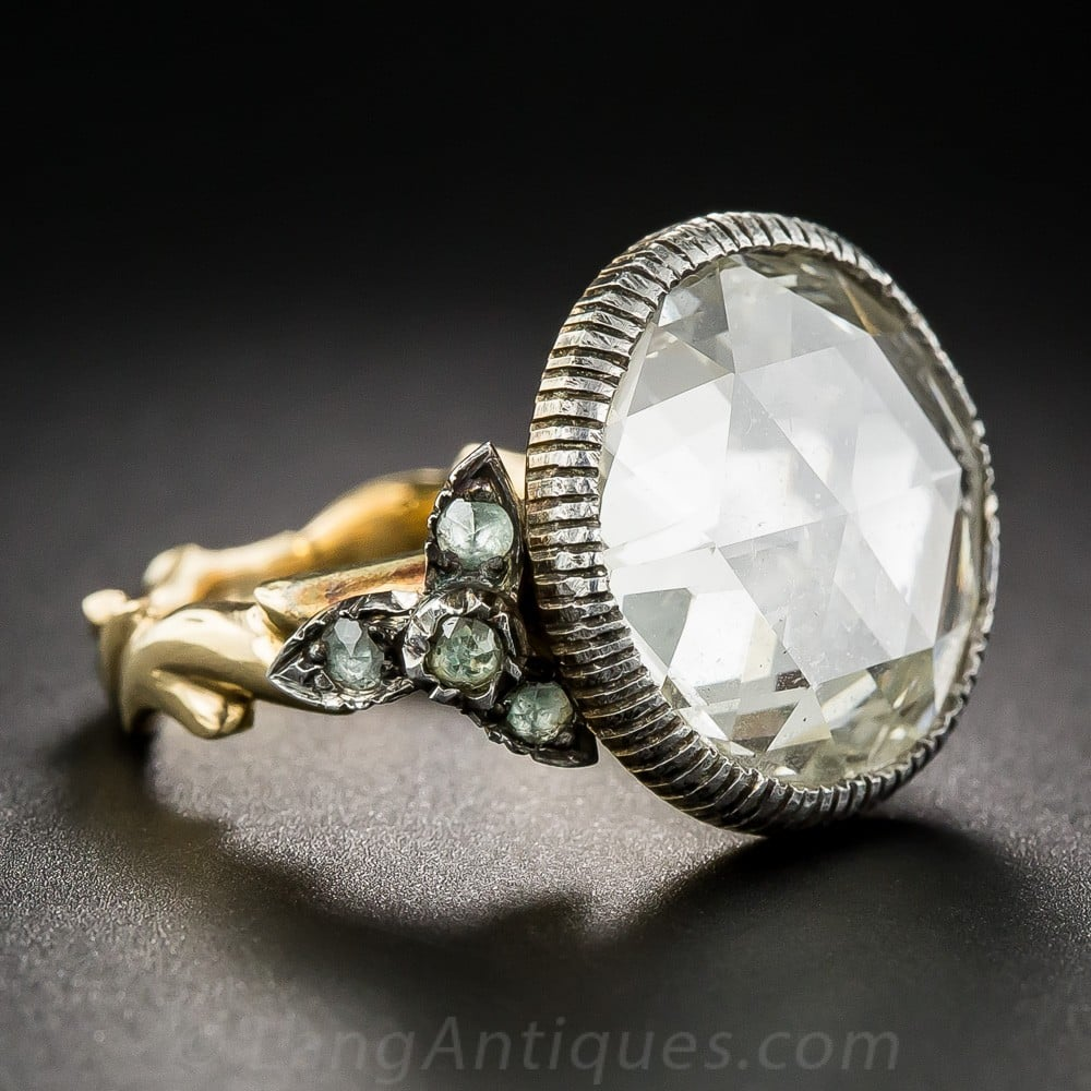Rose-Cut Diamond Ring in Silver-Topped Gold Mounting, c.mid 20th Century.