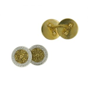 Larter & Sons Celtic Designed 14K Two Tone Cuff Links c.1920.