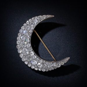 Victorian Diamond Crescent Brooch. Circa 1895.