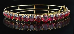 Victorian Bracelet Circa 1880-90 with a Suite of Red Spinel Set in 14 Karat Rose Gold.