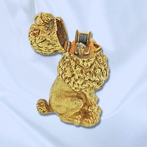 Tiffany & Co. Schlumberger Poodle Lighter - Open. 18k Yellow Gold with Ruby Eyes.