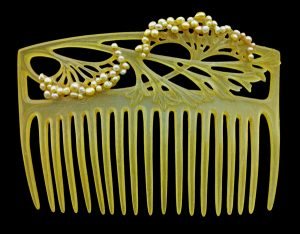 Carved Horn Comb Decorated with Seed Pearls by Aucoc. c.1905.