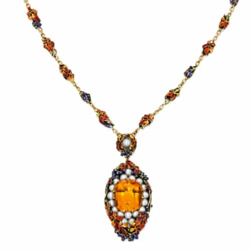 Louis Comfort Tiffany Enamel Citrine Necklace.jpg