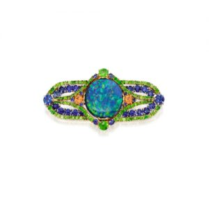 Black Opal, Sapphire, Garnet Brooch by Louis Comfort Tiffany. Photo Courtesy of Sotheby's.