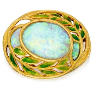 Enamel and Opal Brooch by Louis Comfort Tiffany. Signed Tiffany & Co., c.1905. Photo Courtesy of Sotheby's.