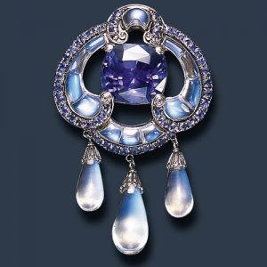 Louis Comfort TIffany Moonstone and Sapphire Brooch. c.1910 Photo Courtesy of Christie's.