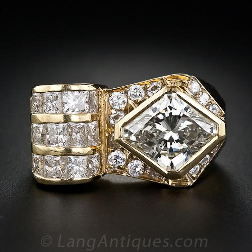 3.00 Carat Lozenge-Shaped Diamond Ring.