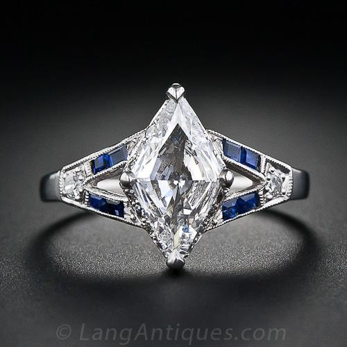 Art Deco Lozenge Shape Diamond and Sapphire Ring.