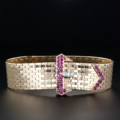 Ruby and Diamond Ludo Bracelet with Coordinating Buckle and Mordant.