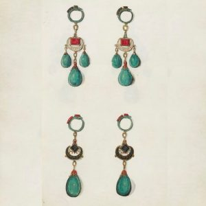 Design for Girandole and Pendeloque Earrings by Arnold Lulls c.1585-1640, Great Britain, UK.
